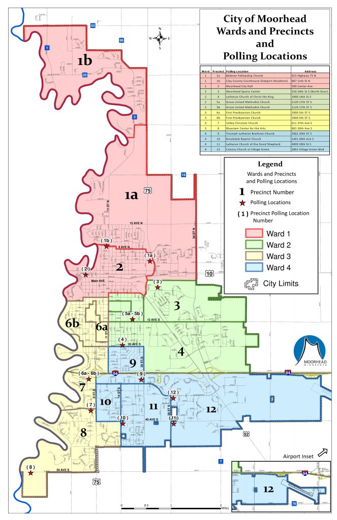 Map of Moorhead wards and polling locations
